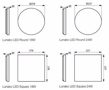 Ceiling and wall-mounted LED luminaires