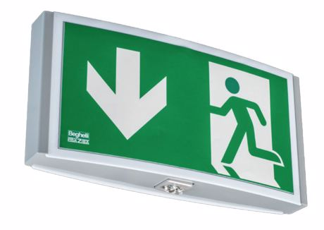 Exit sign luminaire and combined exit sign luminaire and emergency luminaire