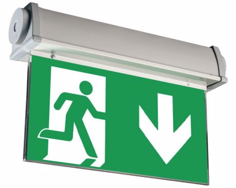 High protection class combined exit sign luminaire / emergency luminaire with high impact strength